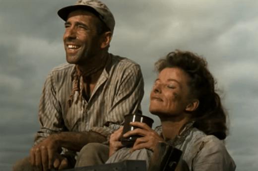 Escena de la película La reina de África, con Humphrey Bogart y Katharine Hepburn.